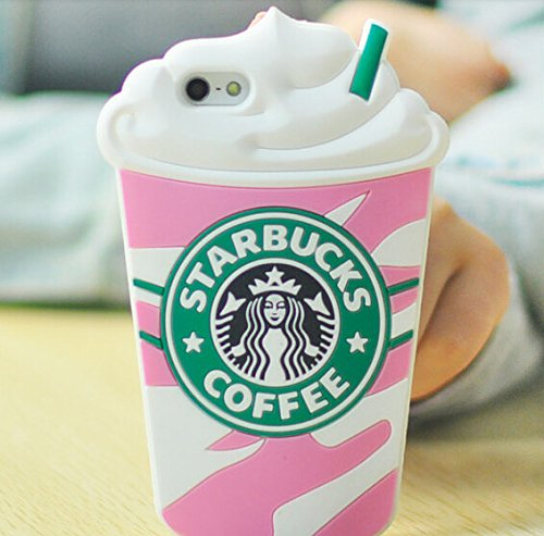 sale retailer 96031 e5665 3D Starbucks Ice Cream Soft Silicone Case Cover For Iphone 5 5S-Pink