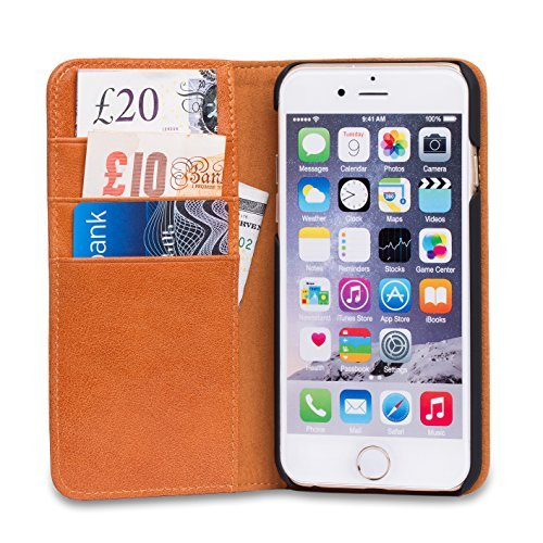 new concept dcab8 168c2 iPhone 6s Case, SHIELDON Handmade Wallet Case, Genuine Leather Case, Flip  Book Cover with Stand Function, Card Slots, Magnetic Closure, for iPhone 6s  ...